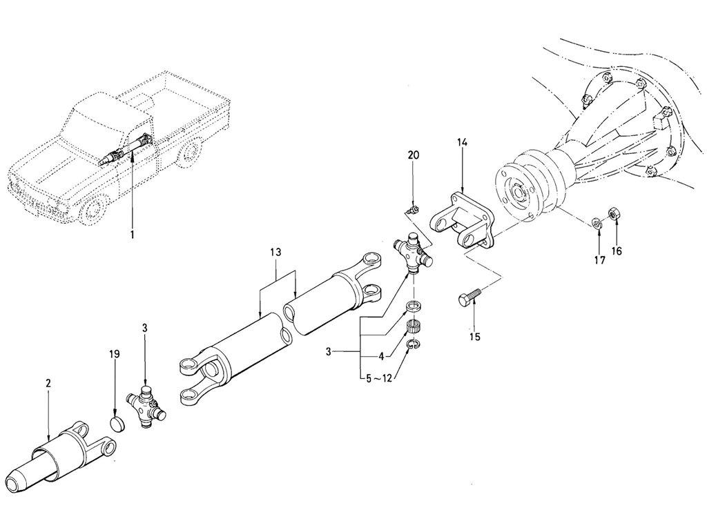 Datsun Pickup (520/521) Propeller Shaft (J13) (From Oct.-'65)