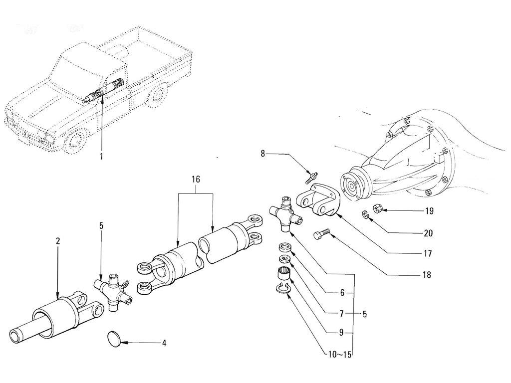 Datsun Pickup (520/521) Propeller Shaft (J13) (To Sep.-'65)