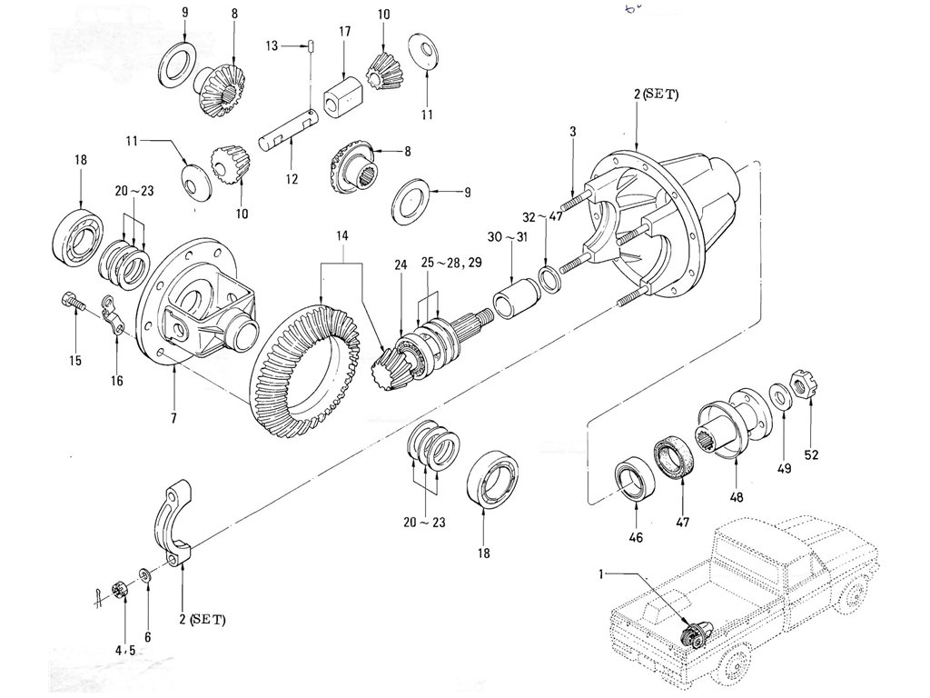 Datsun Pickup (520/521) Gear Carrier & Gear