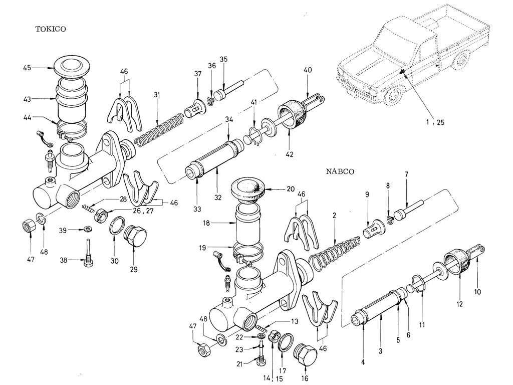 Datsun Pickup 520 521 Brake Master Cylinder From Oct 66