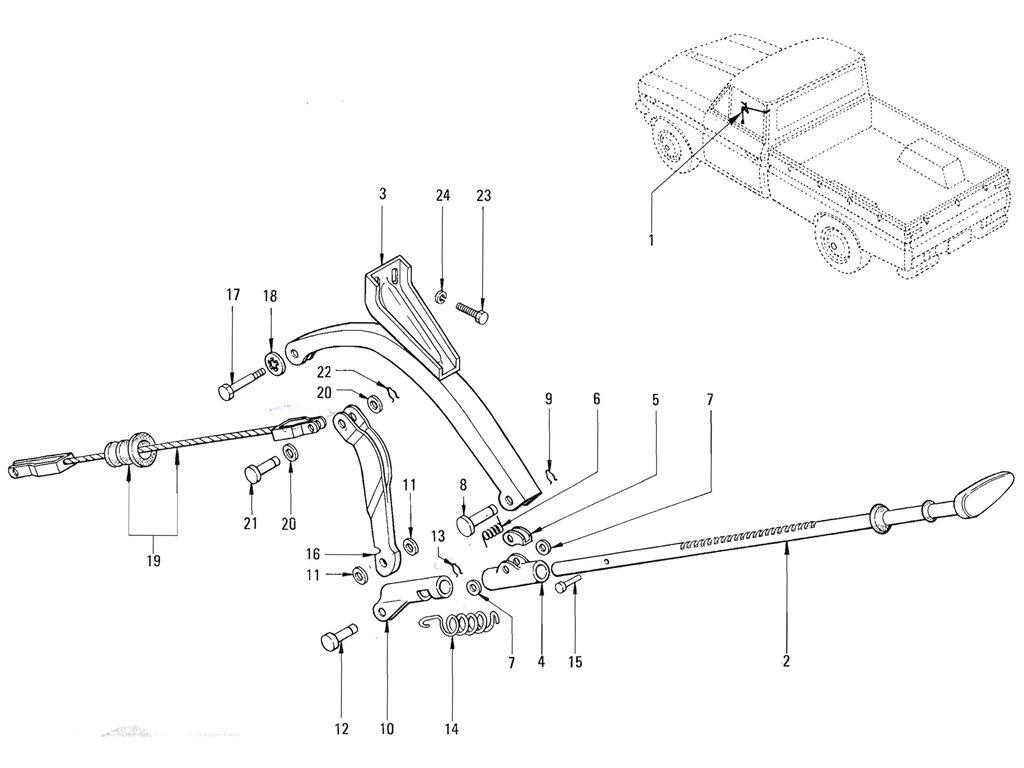 Datsun Pickup (520/521) Hand Brake Control