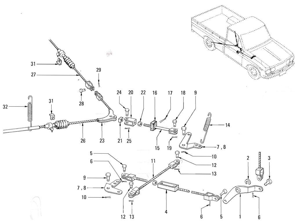 Datsun Pickup (520/521) Hand Brake Linkage