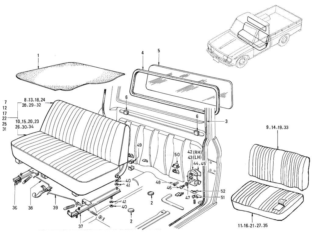 Datsun Pickup (520/521) Seat & Back Panel
