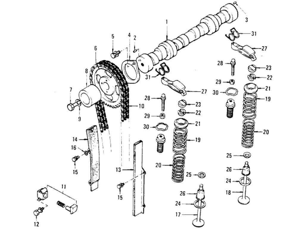 Datsun Pickup (620) Camshaft & Valve Mechanism (L20B)