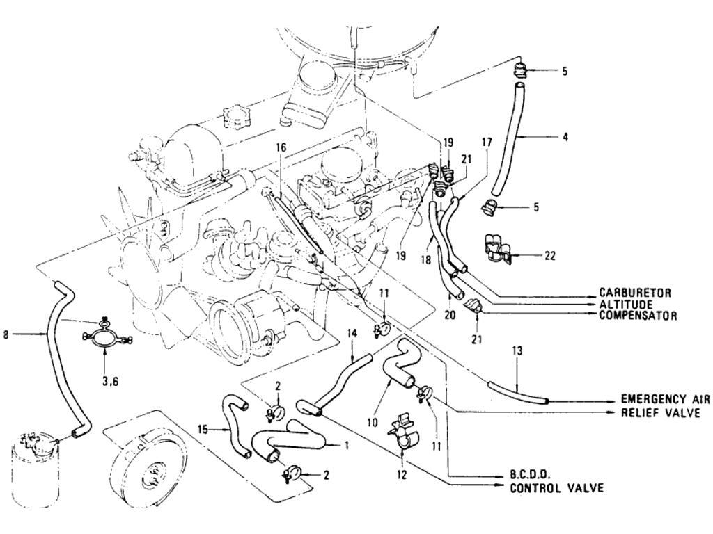 Datsun Pickup (620) Emission Control Hose Index (L20B)