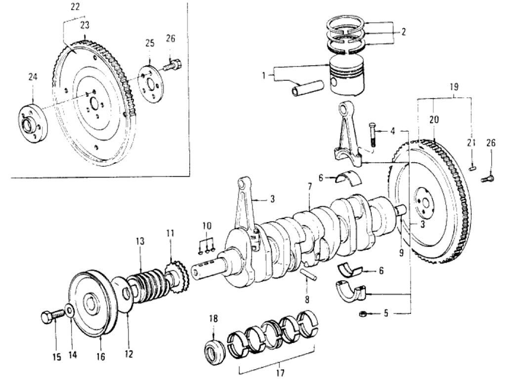 Datsun Pickup (620) Piston & Crankshaft (L18)