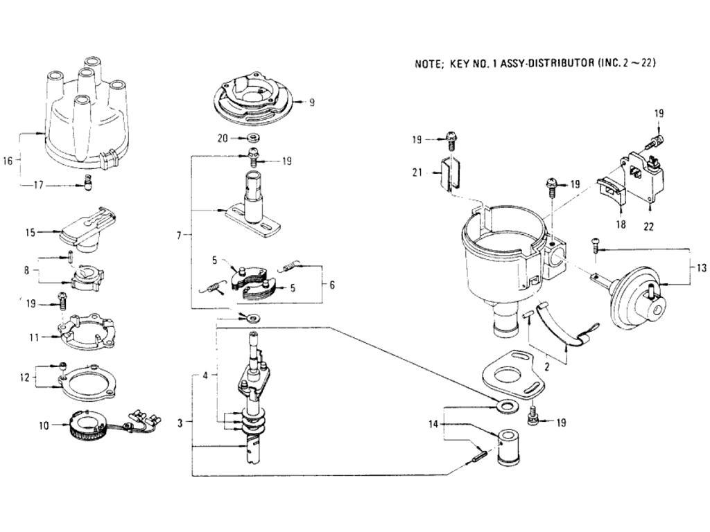 Datsun Pickup (620) Distributor (Hitachi D4K)