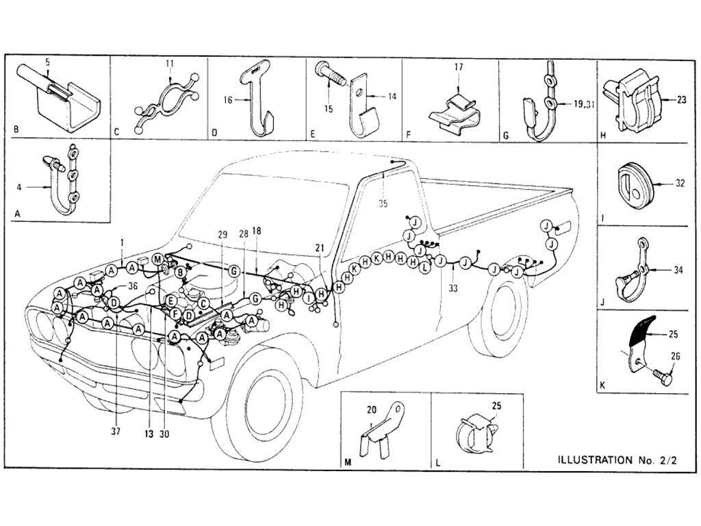 Datsun Pickup (620) Wiring (To Aug.-´74)