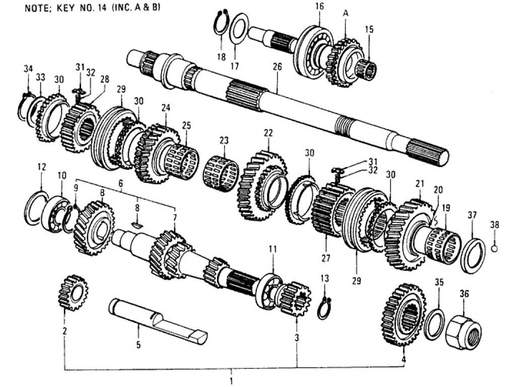 Datsun Pickup (620) Transmission Gear (F4W71B) (From Oct.-'73)