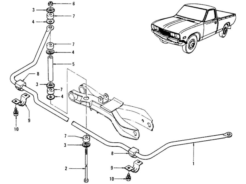 Datsun Pickup (620) Front Suspension Stabilizer (To Jul.-´77)