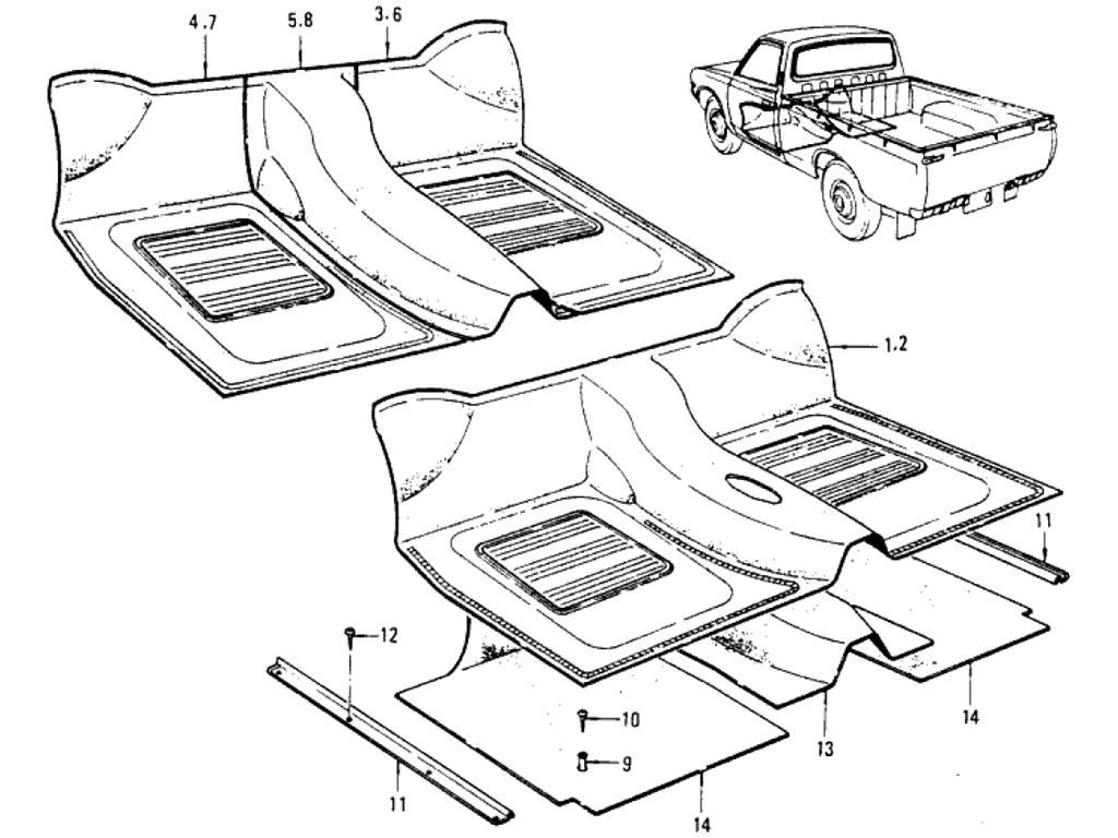 Datsun Pickup (620) Floor Trimming Index (Pickup)