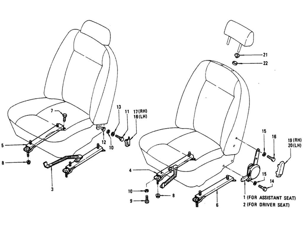Datsun Pickup (620) Reclining Device & Slide Parts (Deluxe