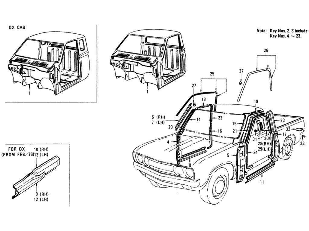 Datsun Pickup (620) Main Cab & Body Side Panel