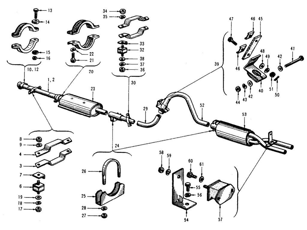 Datsun Sports 1600/2000 Exhaust Tube & Muffler (1965-1967.5)