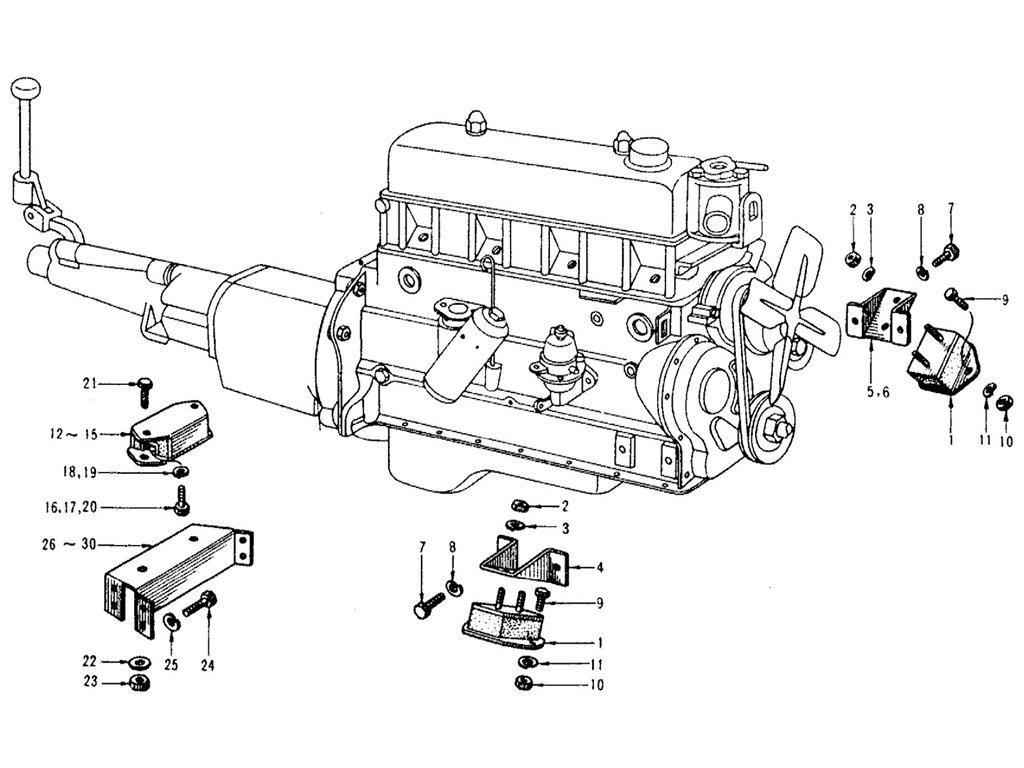 Datsun Sports 1600/2000 Engine Mounting