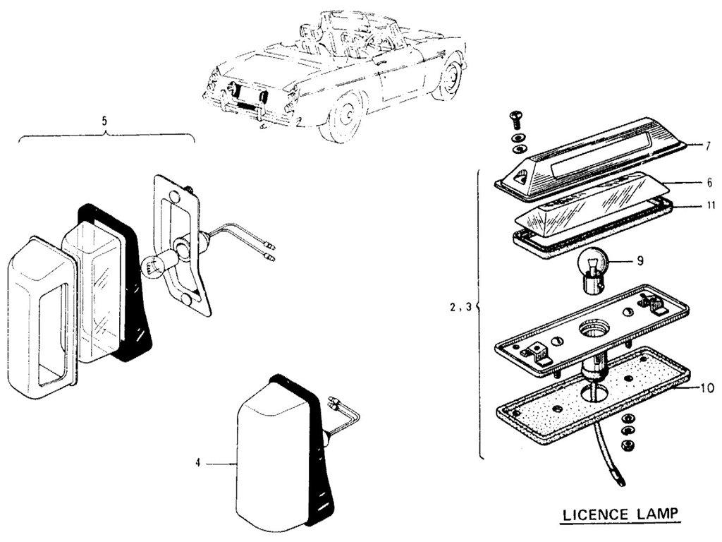 Datsun Sports 1600/2000 Reverse, Fog & License Lamps