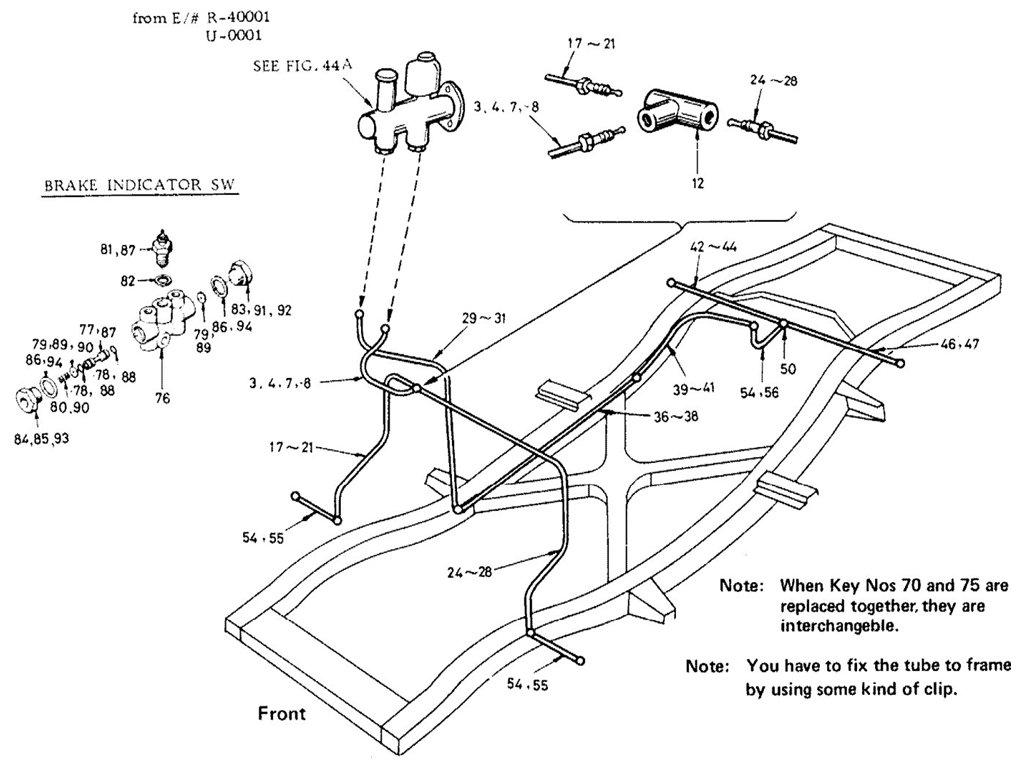 Datsun Sports 1600/2000 Brake Piping