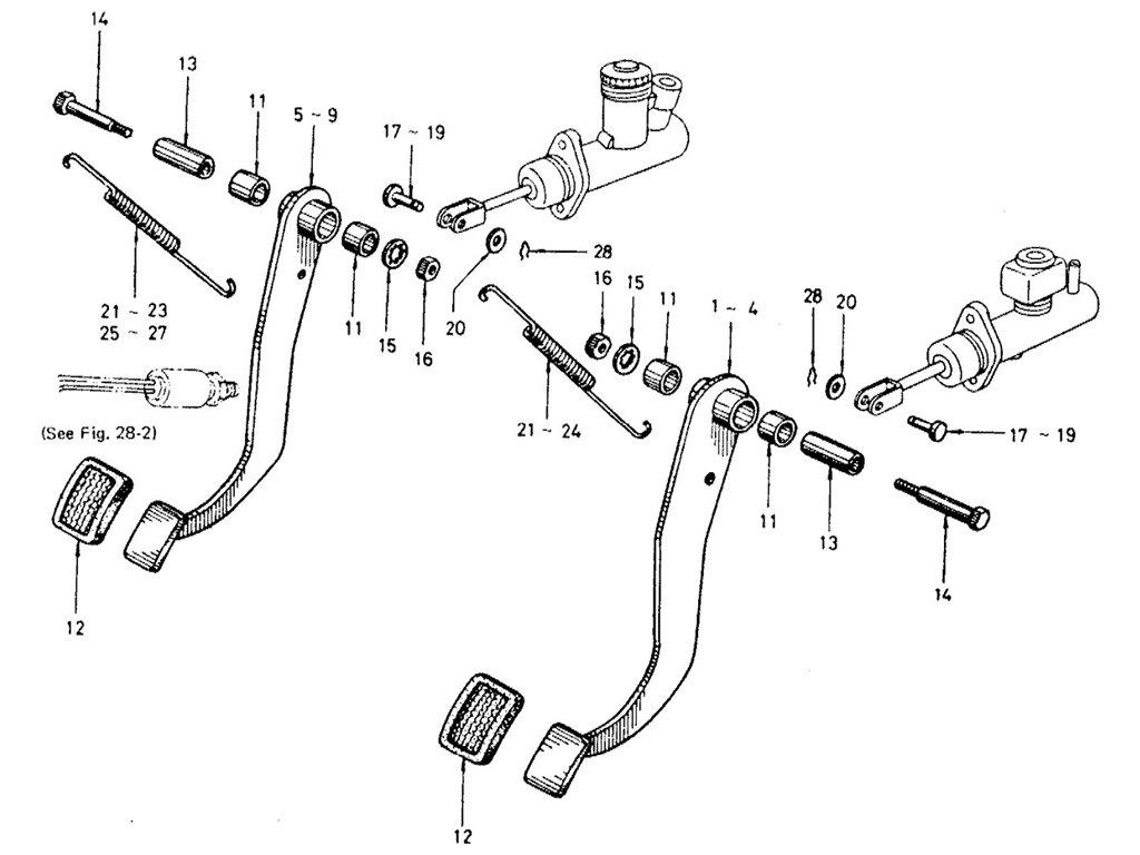 Datsun Sports 1600/2000 Brake & Clutch Pedal
