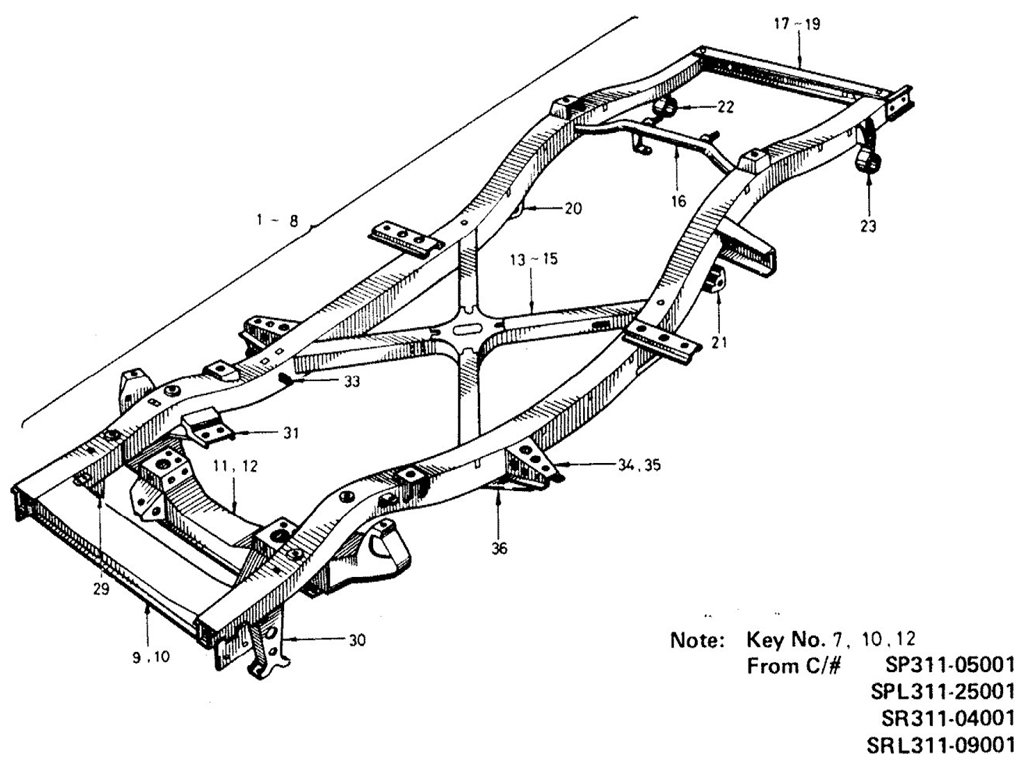 Datsun Sports 1600/2000 Steering & Frame Index