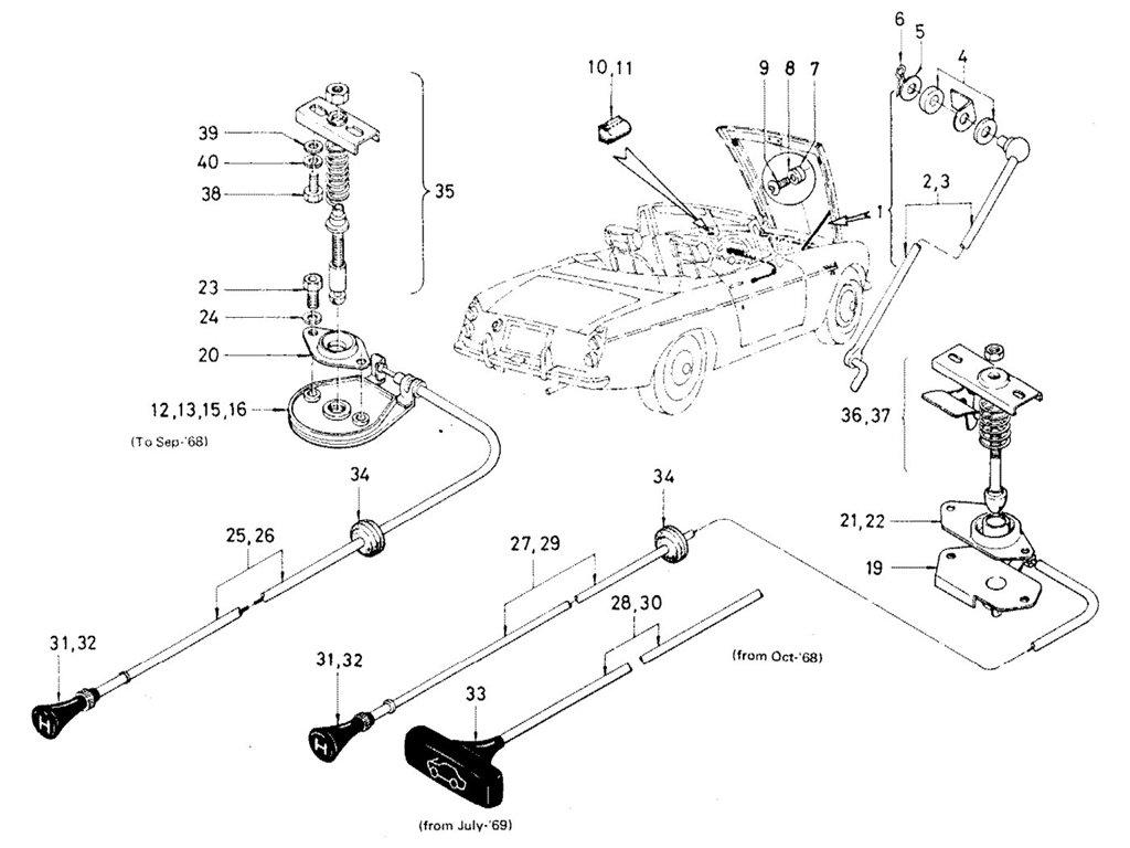 Datsun Sports 1600/2000 Hood Lock Control