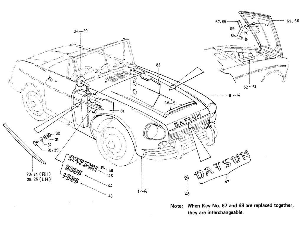 Datsun Sports 1600/2000 Front Fender & Hood