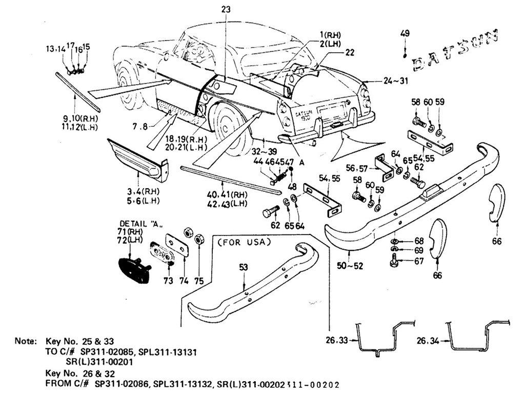 Datsun Sports 1600/2000 Body Rear Outside