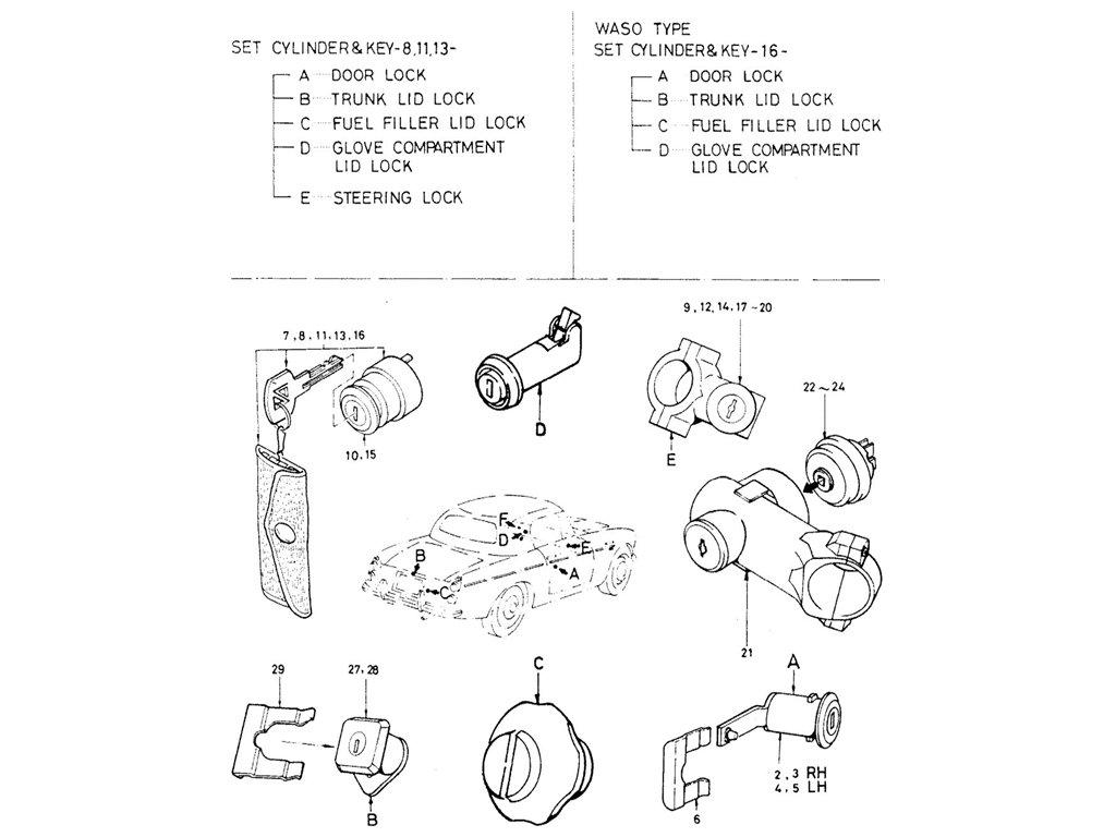 Datsun Sports 1600/2000 Lock Cylinder (Waso Type)