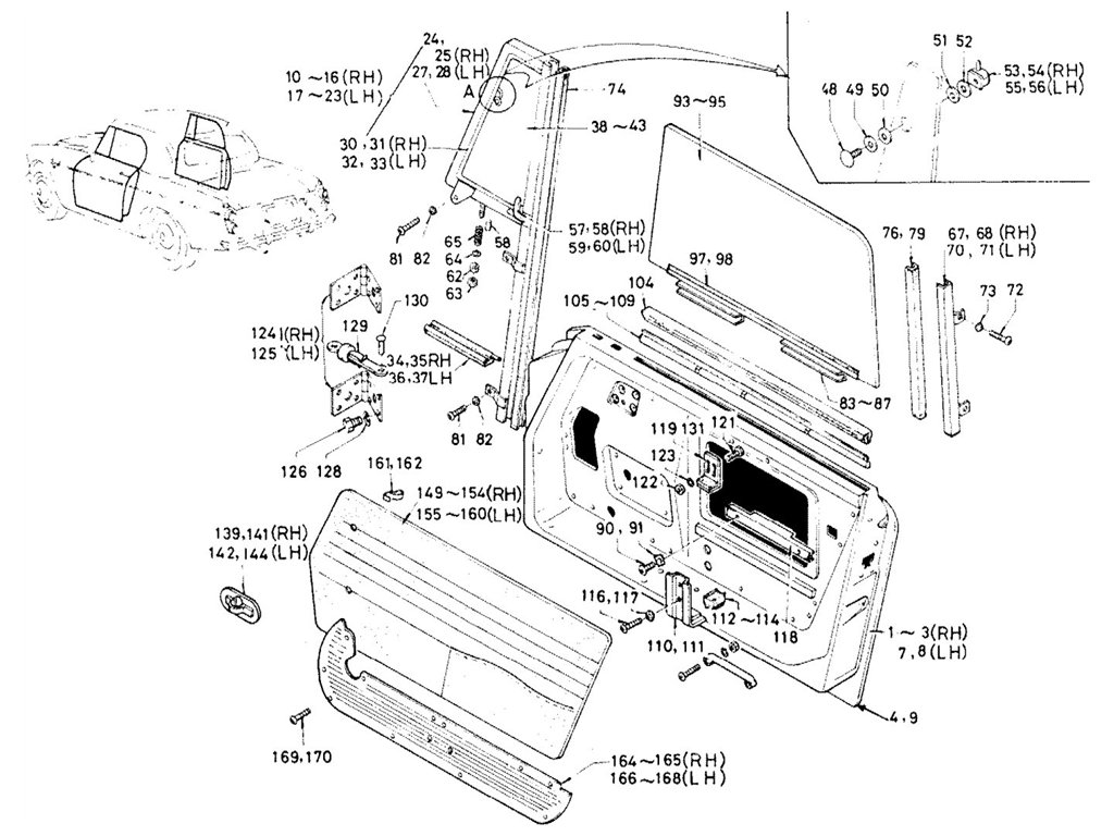 Datsun Sports 1600/2000 Door Panel