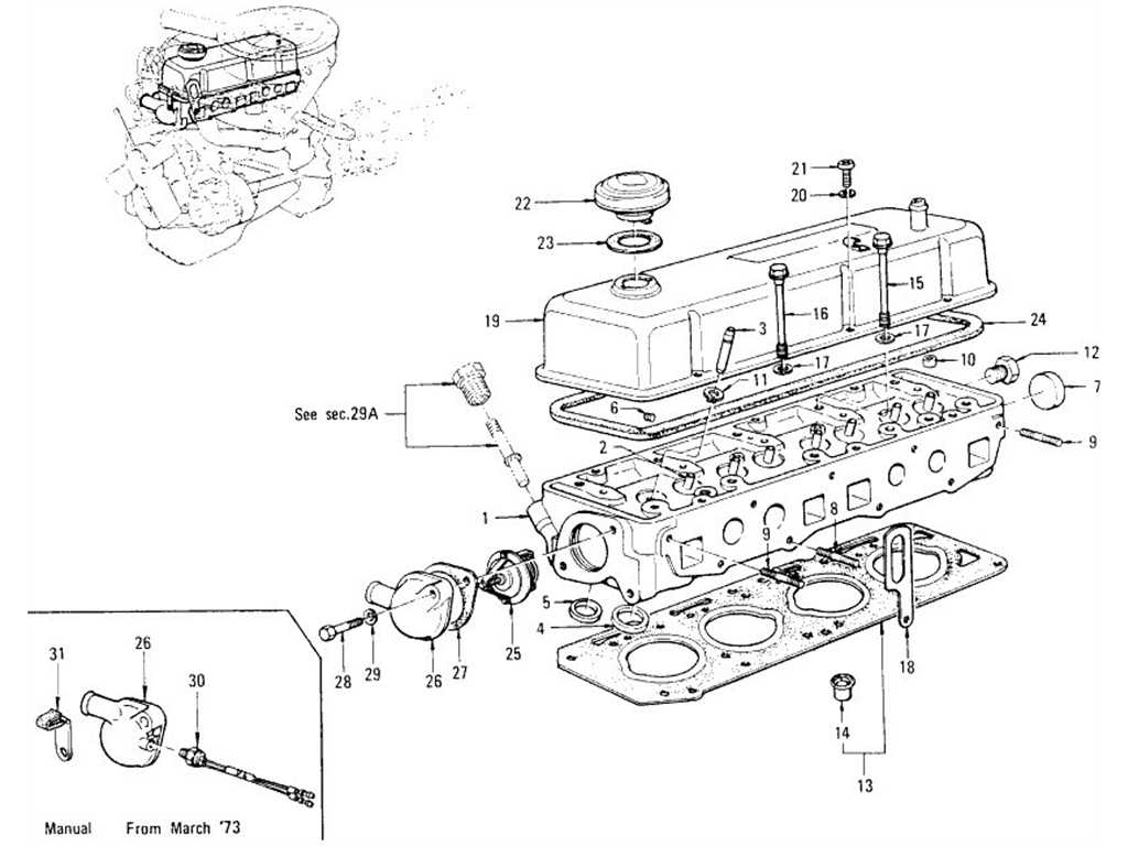 Datsun 1200 (B110) Cylinder Head, Rocker Cover & Thermostat