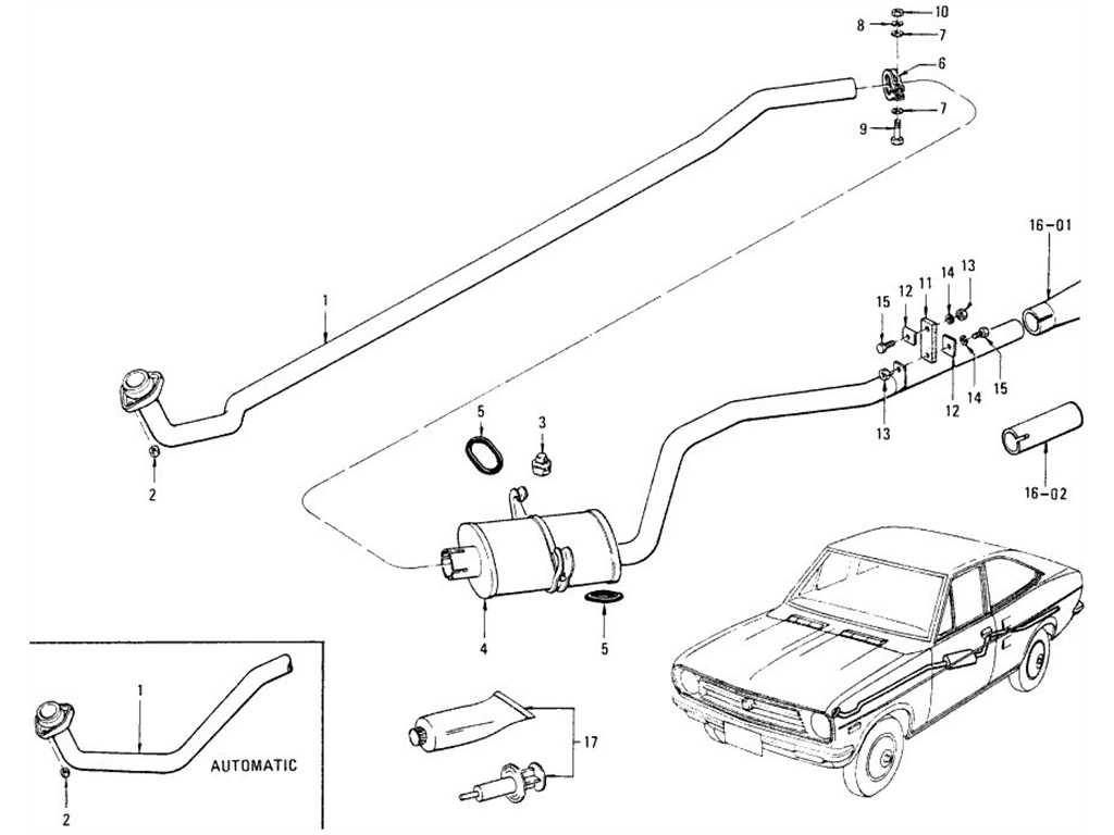 Datsun 1200 (B110) Exhaust Tube & Muffler