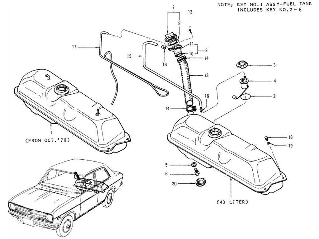 Datsun 1200 (B110) Fuel Tank (Sedan)