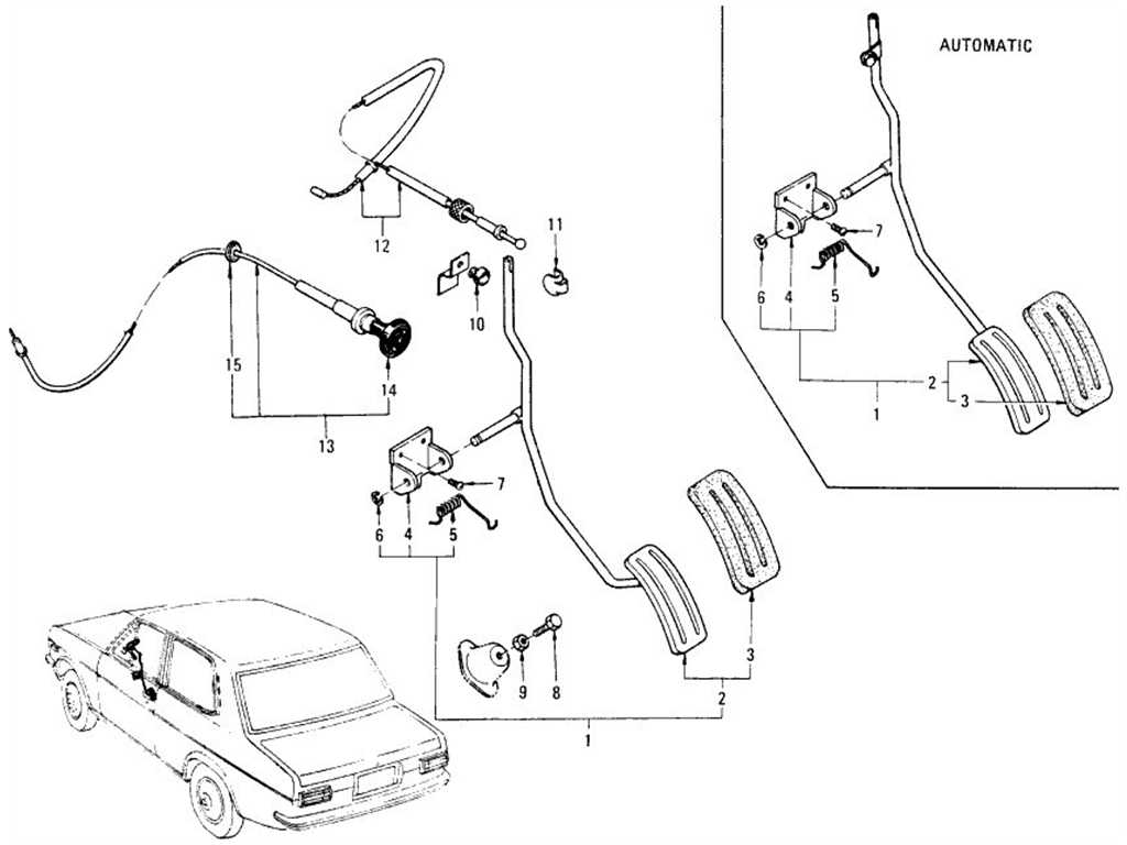 Datsun 1200 (B110) Accelerator Pedal & Choke Control