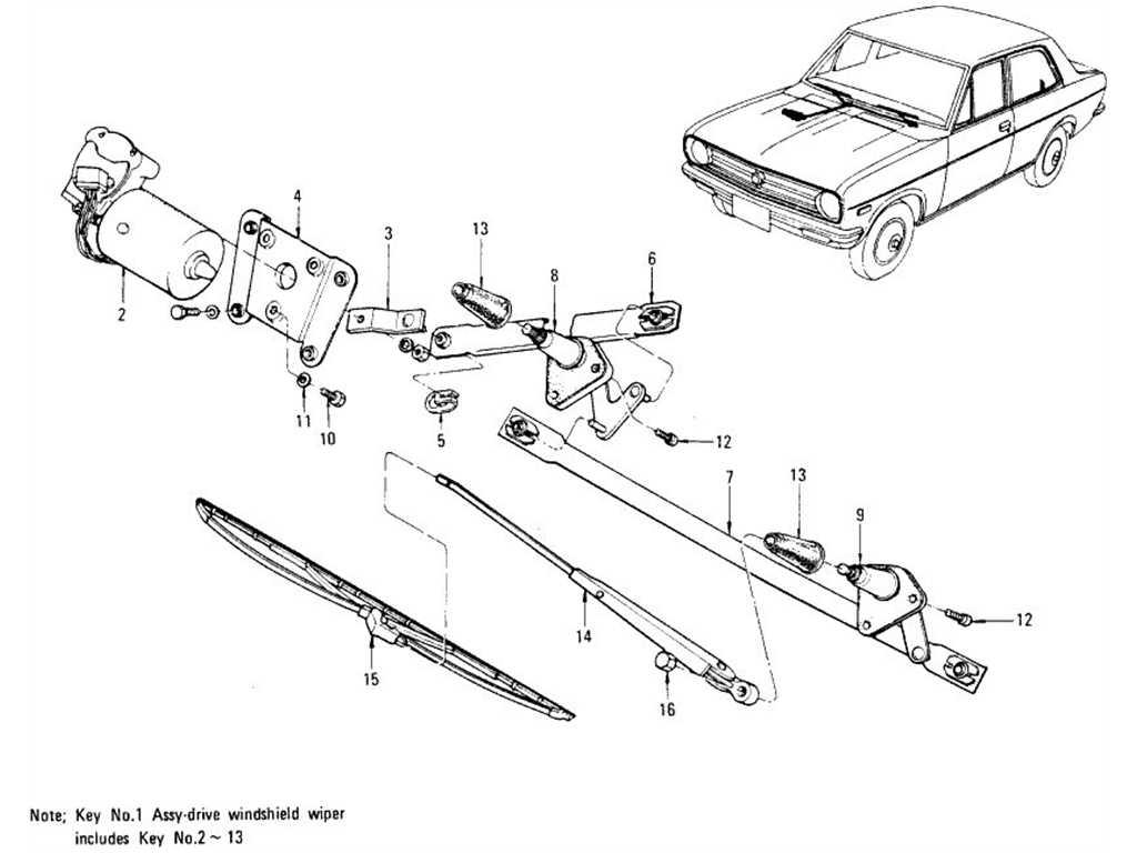 Datsun 1200 (B110) Windshield Wiper, Motor & Wiper Blade