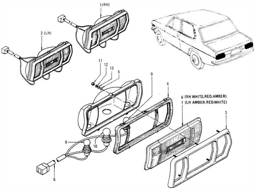 Datsun 1200 (B110) Rear Combination Lamp (Sedan)
