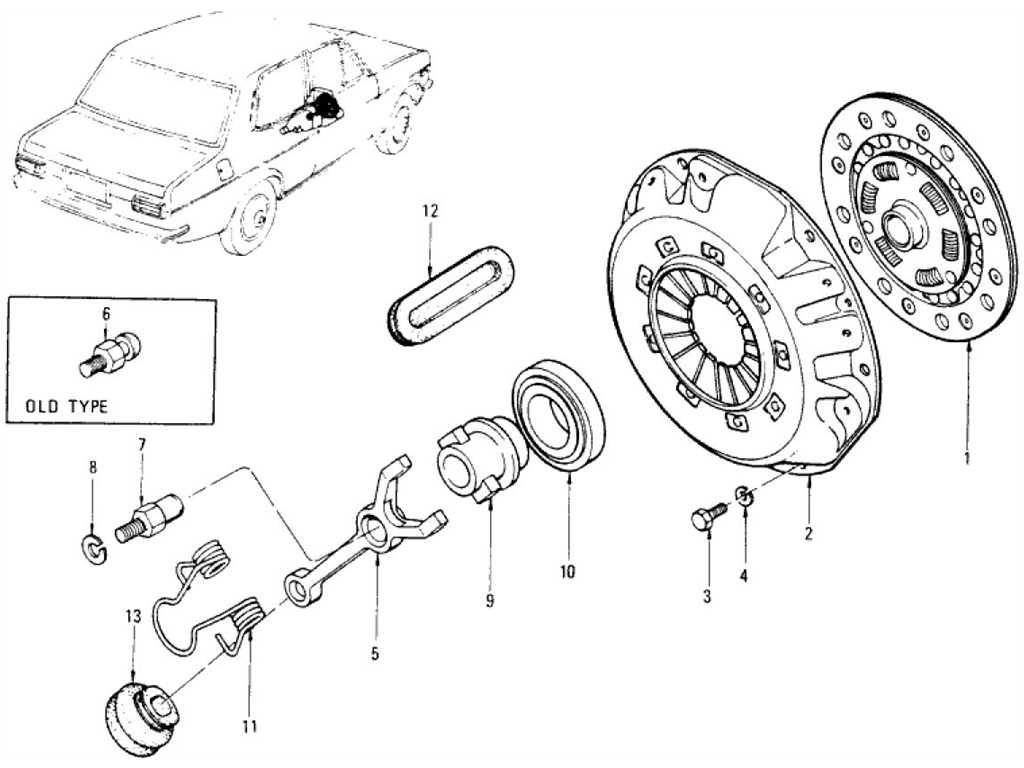 Datsun 1200 (B110) Clutch Disc, Clutch Cover & Withdrawal