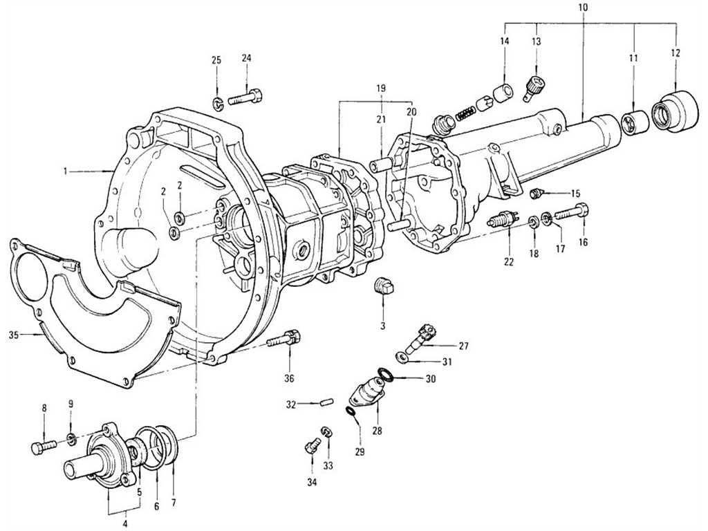 Datsun 1200 (B110) Transmission Case, Rear Extension