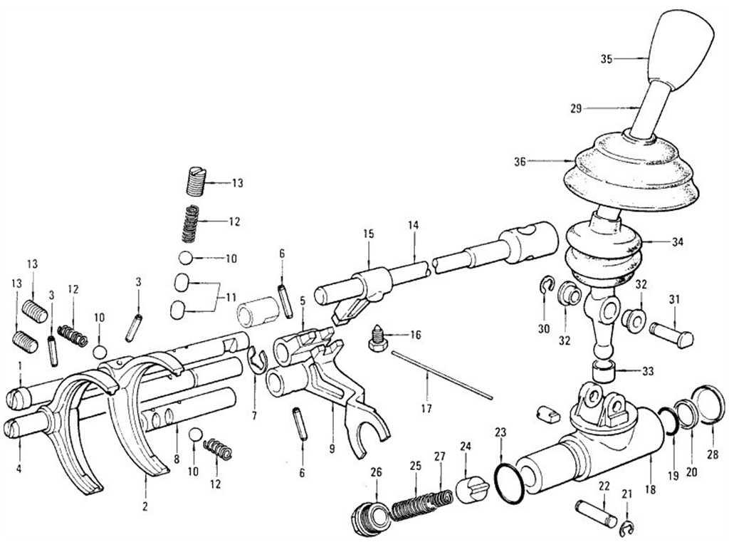 Datsun 1200 (B110) Transmission Control Fork & Lever (4