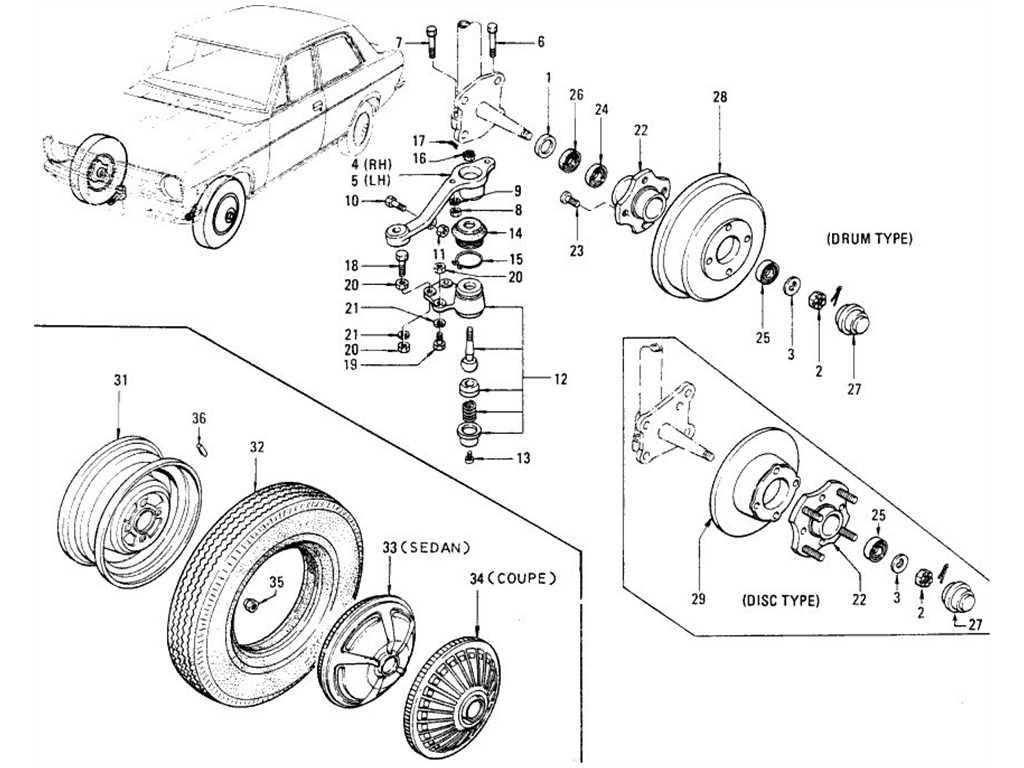 Datsun 1200 (B110) Front Axle, Road Wheel & Tire