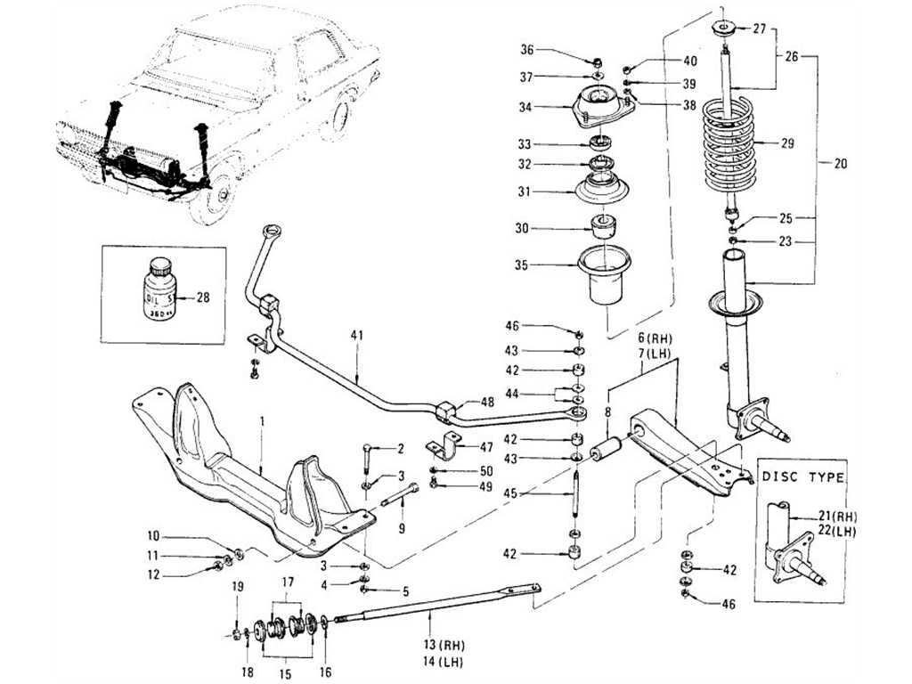 Datsun 1200 (B110) Front Suspension (Strut, Shock Absorber)