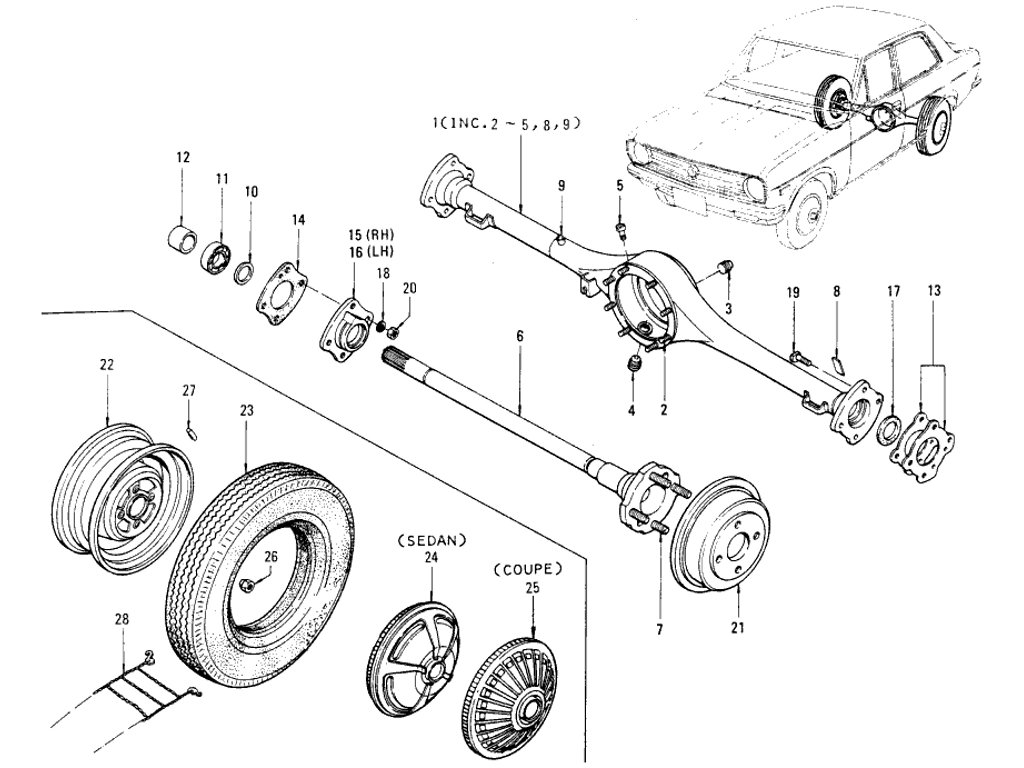 Datsun 1200 (B110) Rear Axle, Road Wheel & Tire