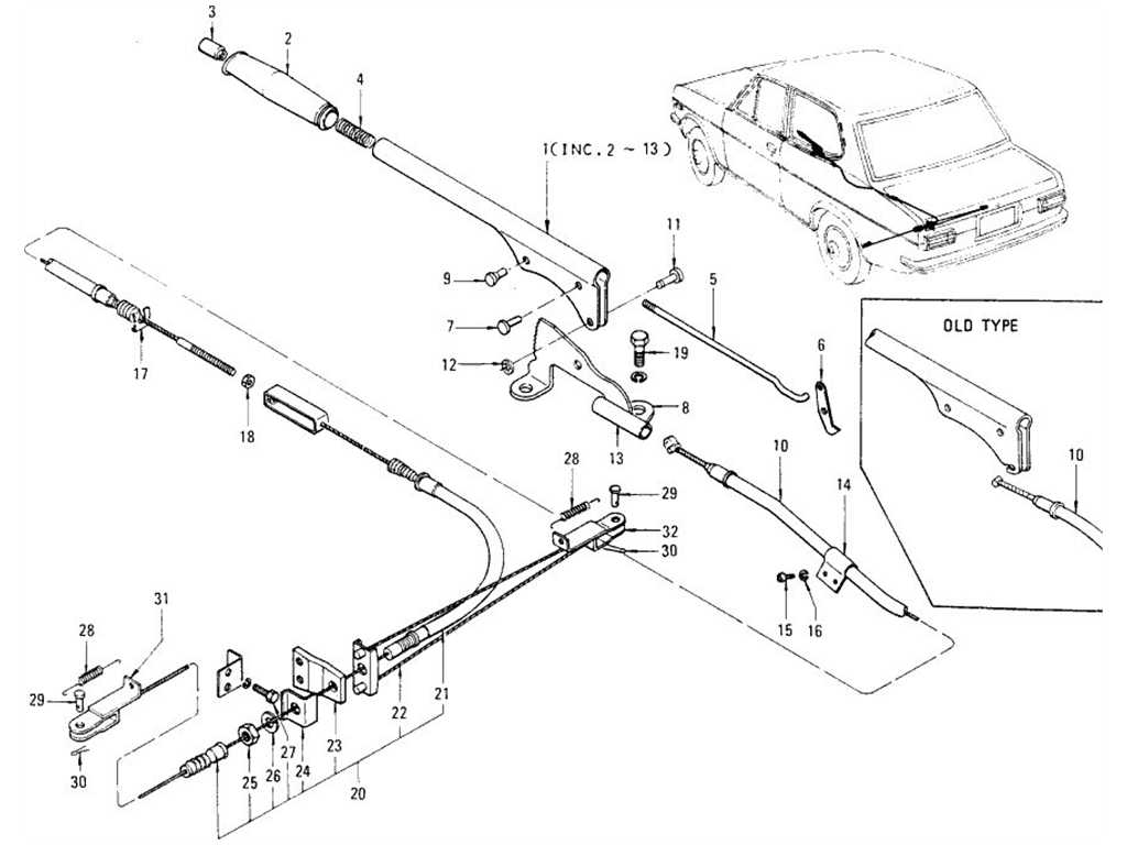 Datsun 1200 (B110) Hand Brake & Hand Brake Cable