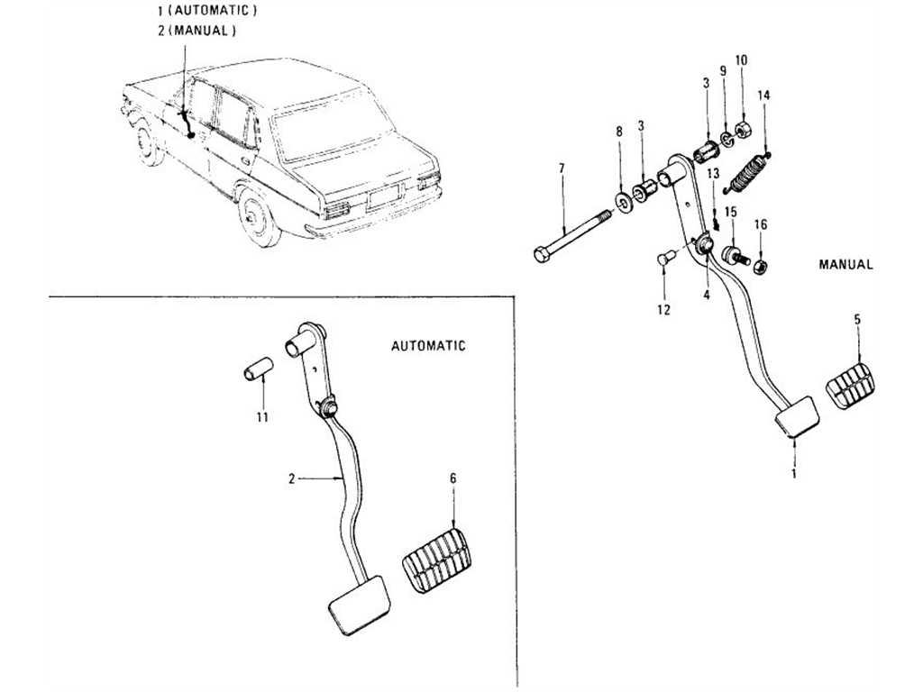Datsun 1200 (B110) Brake Pedal
