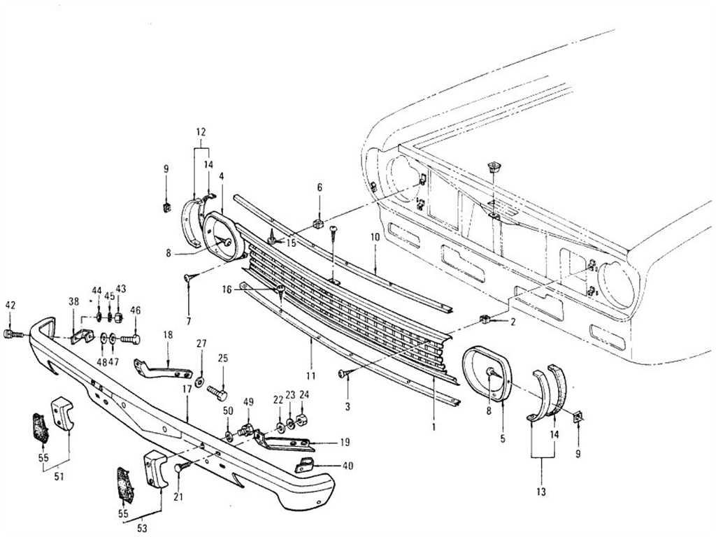 Datsun 1200 (B110) Radiator Grille & Front Bumper (Sedan)