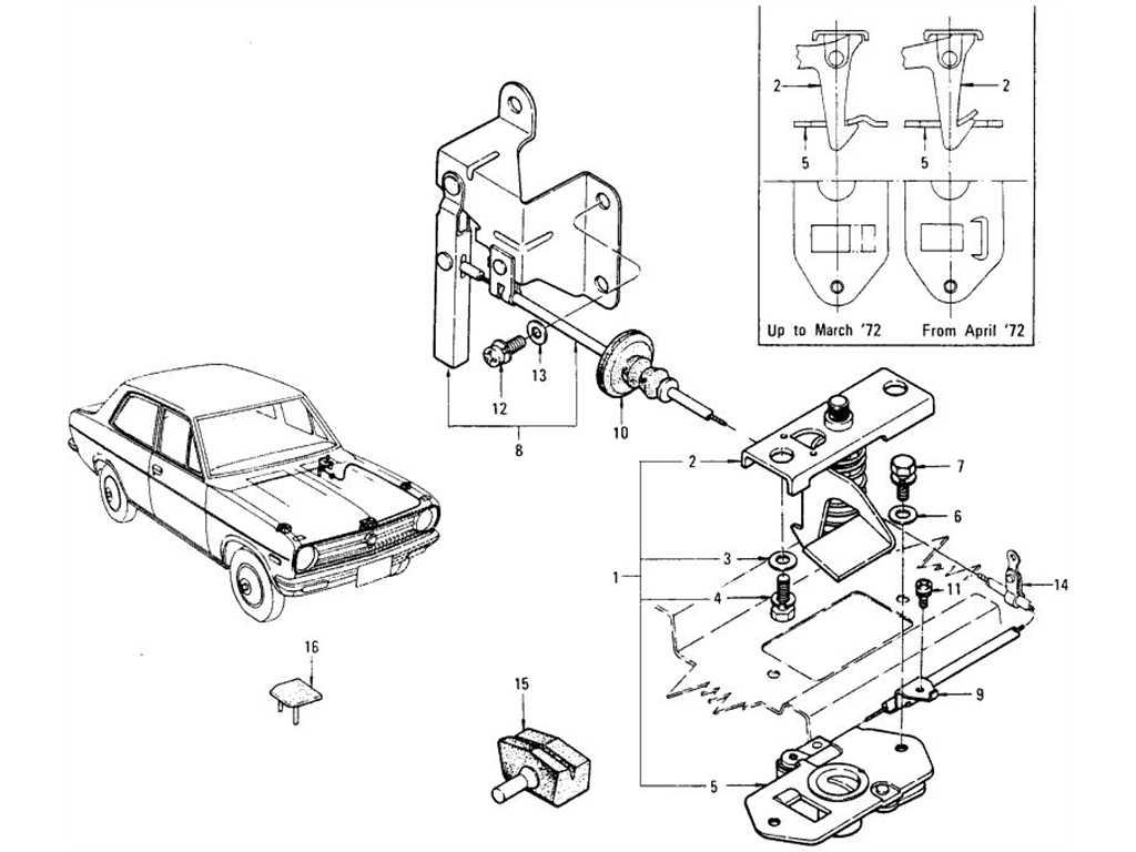 Datsun 1200 (B110) Hood Lock Control (Sedan)