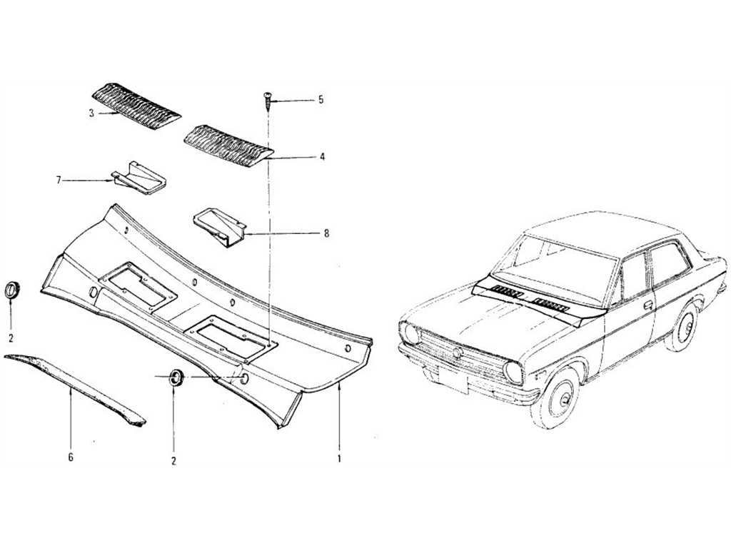 Datsun 1200 (B110) Cowl Top & Cowl Top Grille (Sedan)