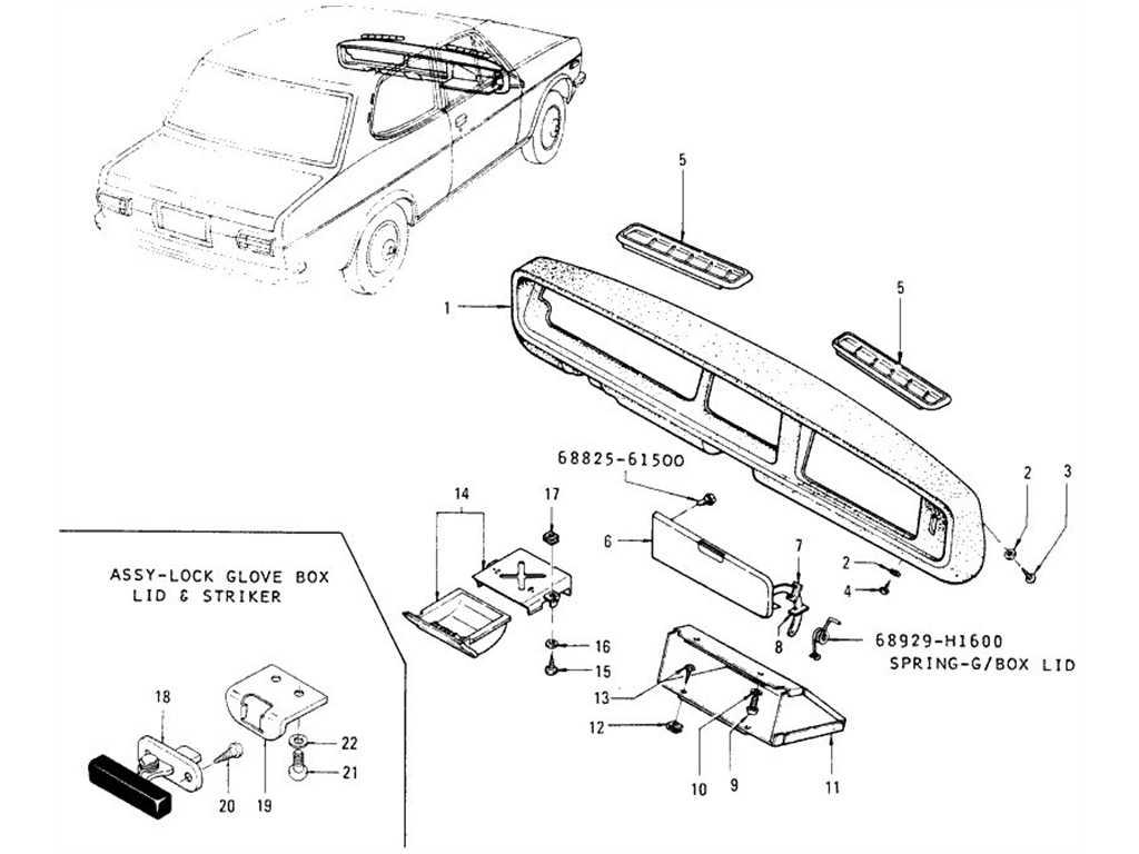 Datsun 1200 (B110) Glove Box & Ash Tray (Sedan)