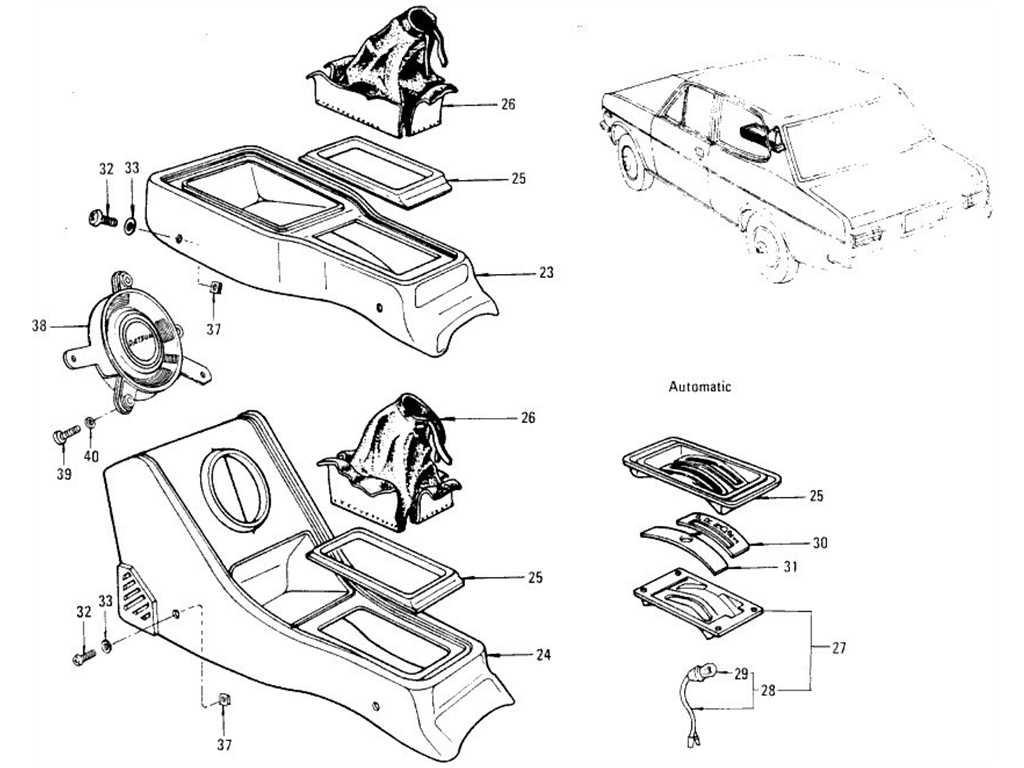 Datsun 1200 (B110) Floor Mat, Kicking Plate & Console Box