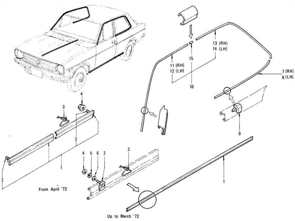 Datsun 1200 (B110) Body Side Fitting & Moulding (Sedan)
