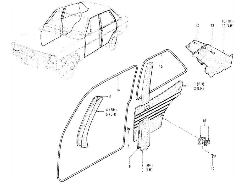Datsun 1200 (B110) Body Side Trimming (Sedan)
