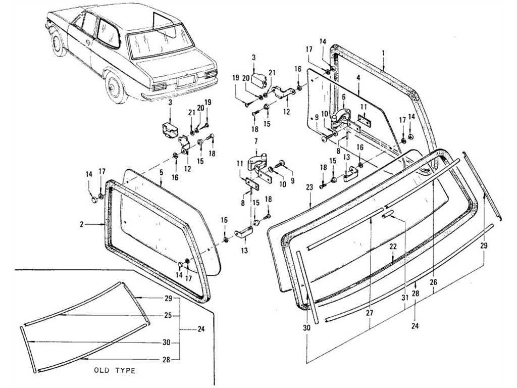 Datsun 1200 (B110) Side Window & Rear Window (Sedan)